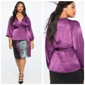 Eloquii Puff Sleeve Wrap Top Purple NWT Size 14